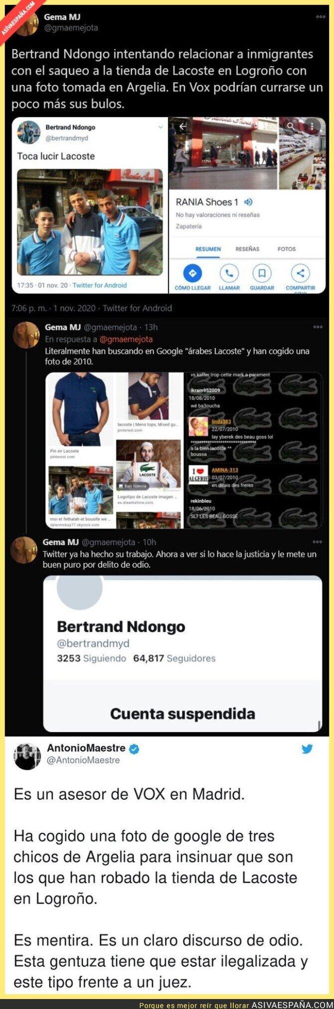 445082 - Twitter le suspende la cuenta de Bertrand Ndongo (VOX) tras difundir estos mensajes sobre unos chicos jóvenes
