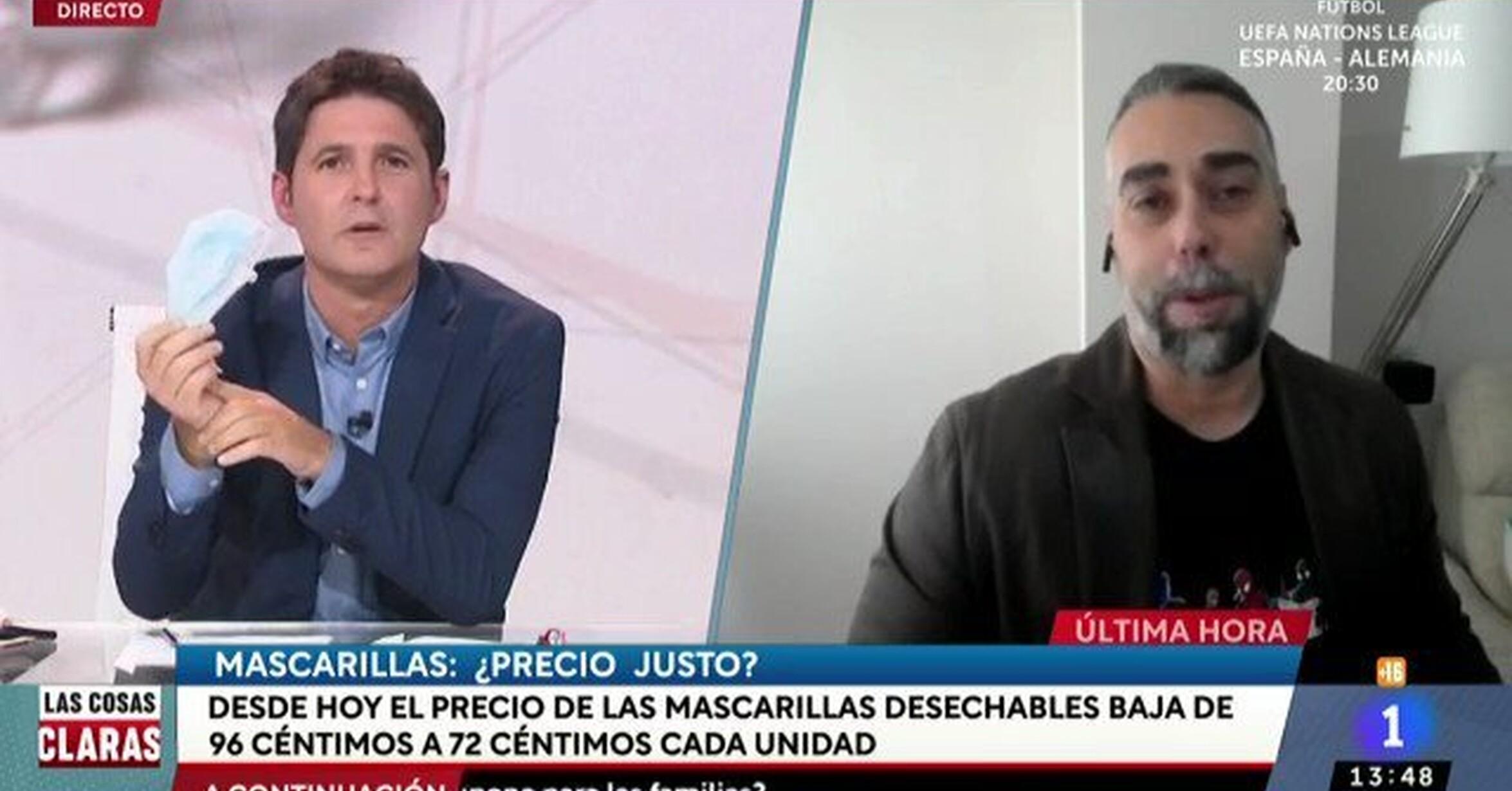 Rubén Sánchez ha explicado en TVE el escandaloso precio de las mascarillas