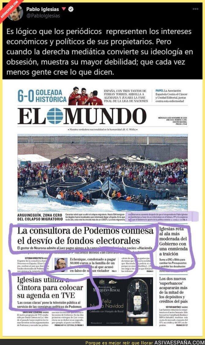 471244 - Al diario 'El Mundo' se le cuela en portada una noticia que no habla sobre Pablo Iglesias