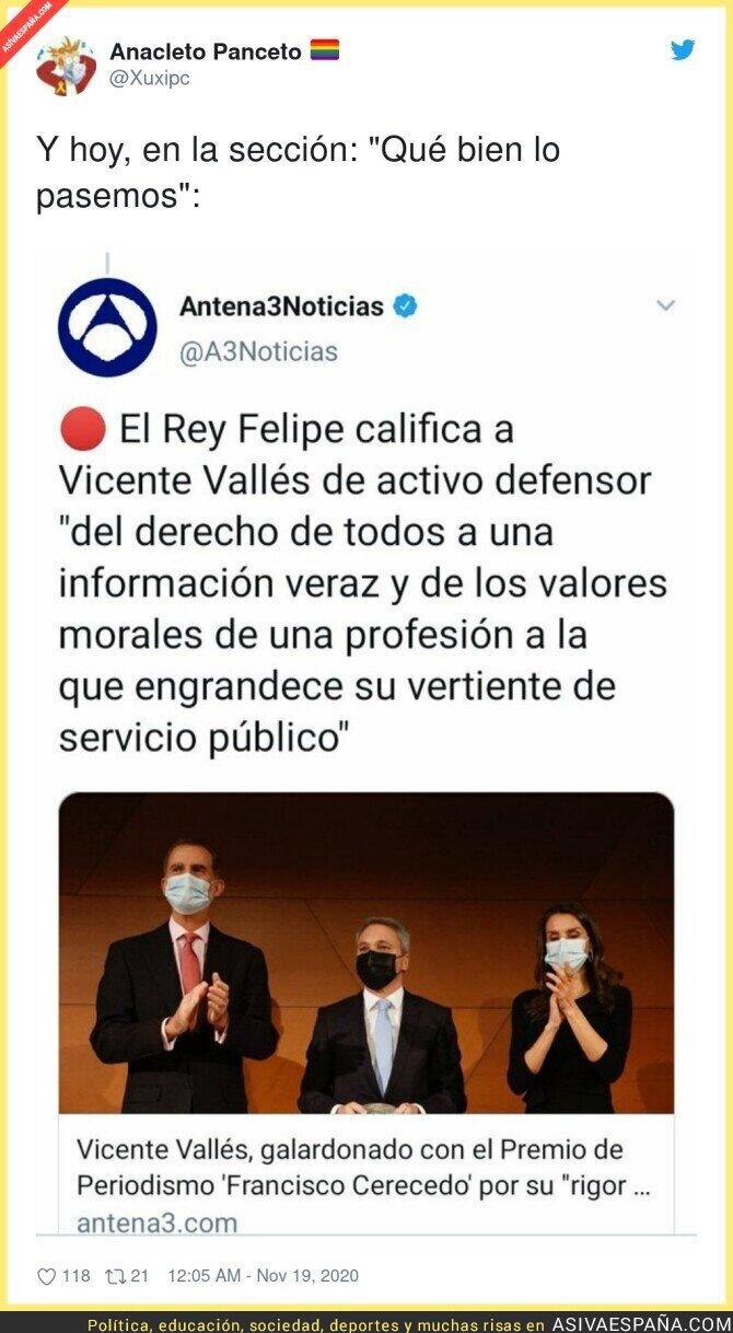472426 - Felipe debe ser de los que comparte los zascas de Vicente Vallés en su informativo