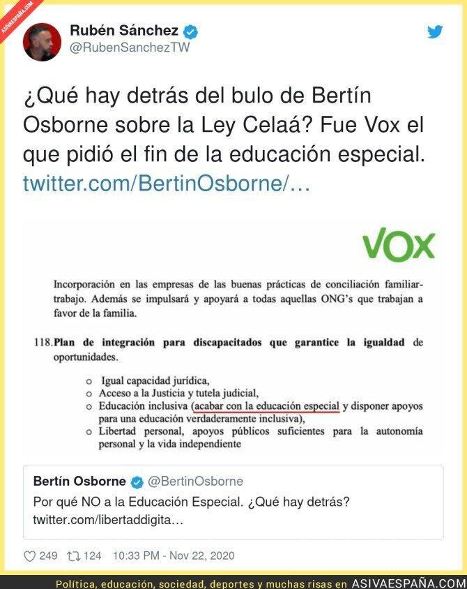 478062 - ¿Por qué Bertín Osborne no dijo nada sobre VOX que si fue el que pidió acabar con la educación especial?
