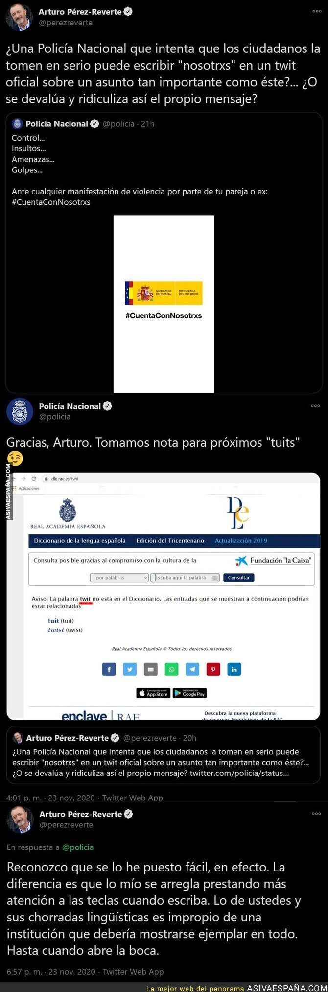 480081 - Pelea tuitera entre Arturo Pérez-Reverte y la Policía por una falta de ortografía
