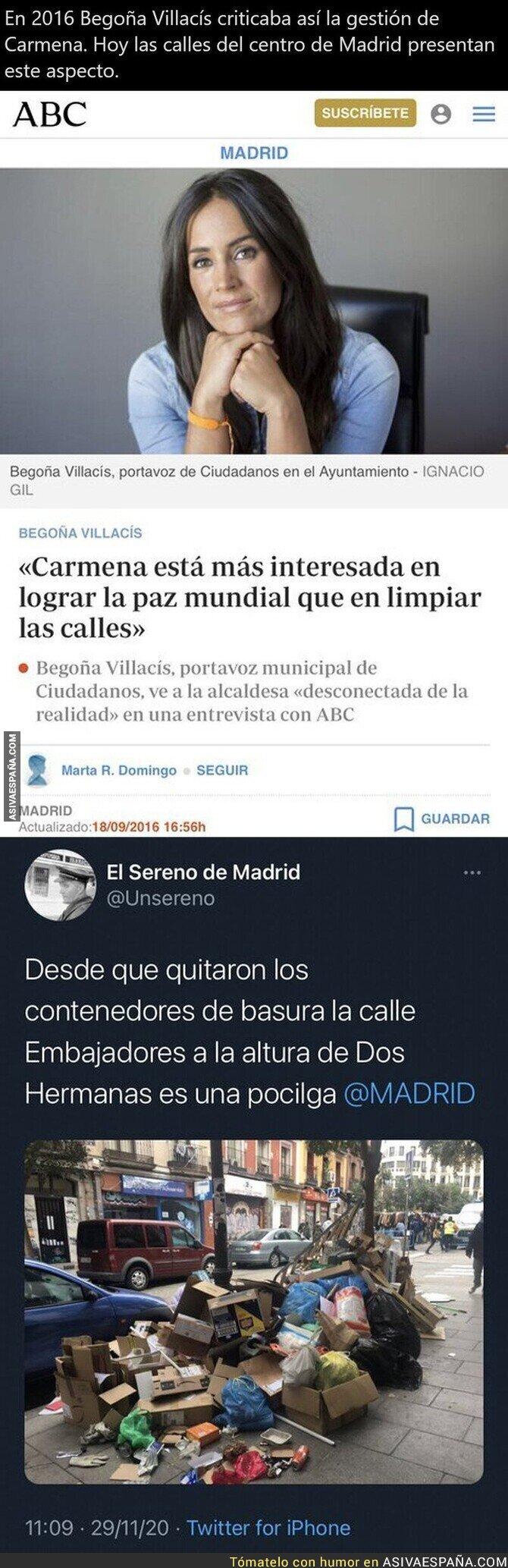 486351 - Así tienen las calles el Gobierno de derechas en Madrid cuando fueron los primero sen criticar a Manuela Carmena