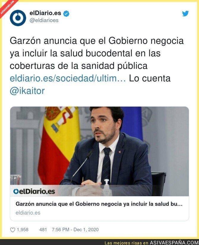 489831 - Una grandísima noticia la que anuncia Alberto Garzón sobre la salud bucodental