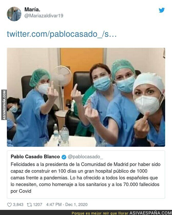 490338 - La respuesta de los sanitarios a Pablo Casado por el hospital de las pandemias