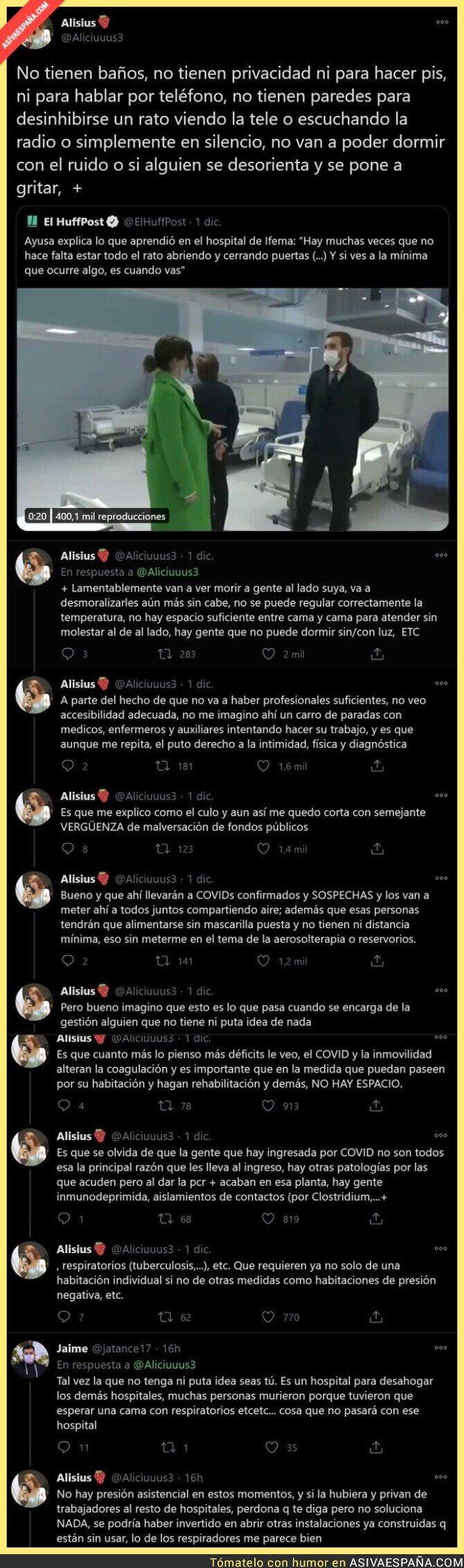 490508 - El hospital de Isabel Díaz Ayuso es la vergüenza mundial por todos estos motivos