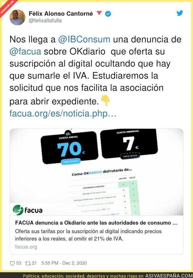 490913 - Si te suscribes a Okdiario la estafa no va a ser el IVA