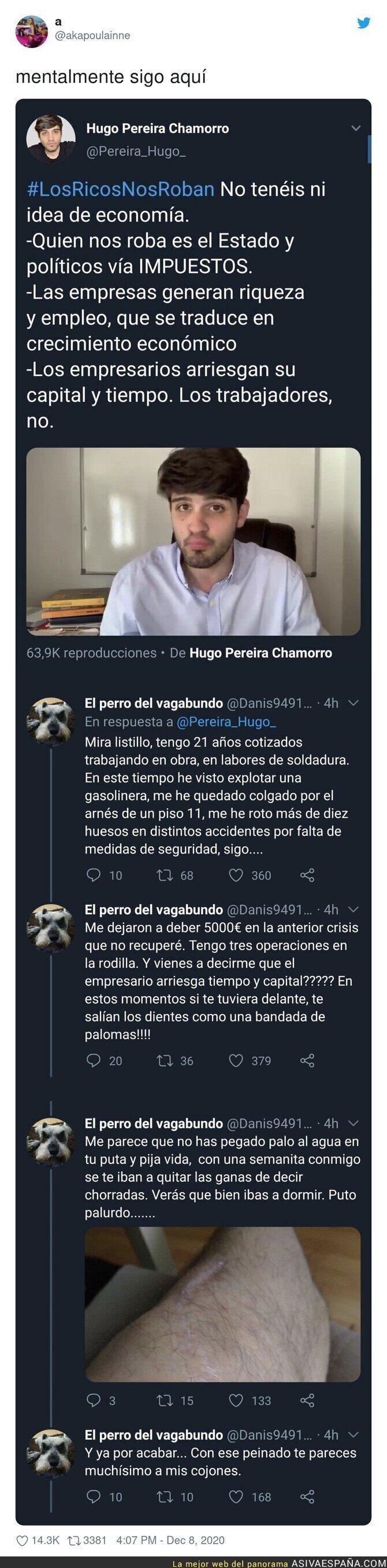 498629 - El repaso monumental que le pegan a Hugo Pereira tras hablar de economía