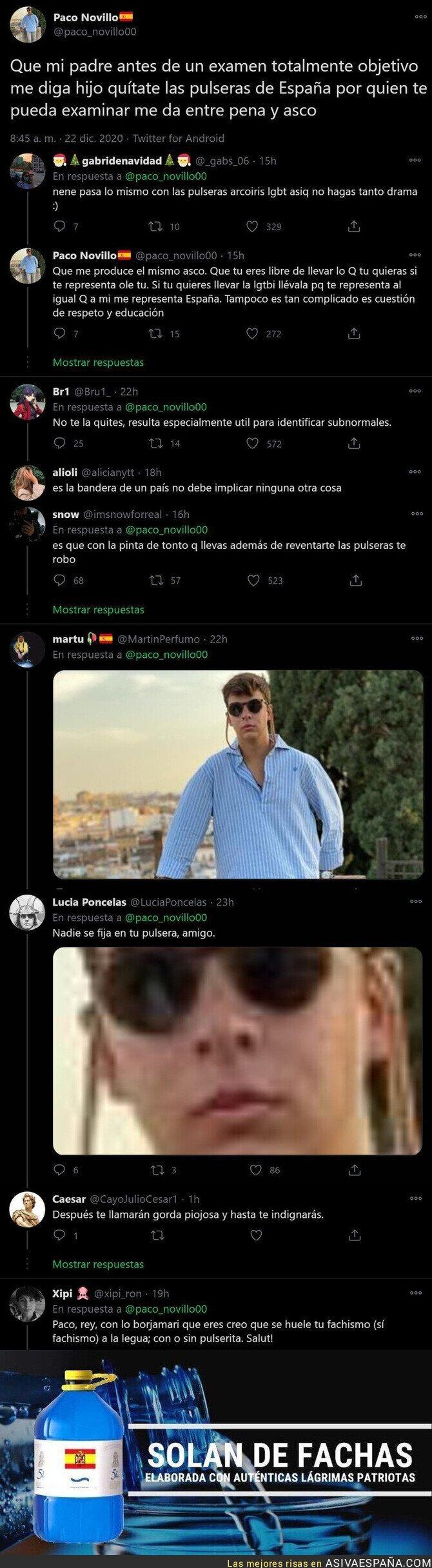 517331 - Las lágrimas de este patriota-pijo español porque su padre le ha recomendado quitarse la pulsera de España en la escuela