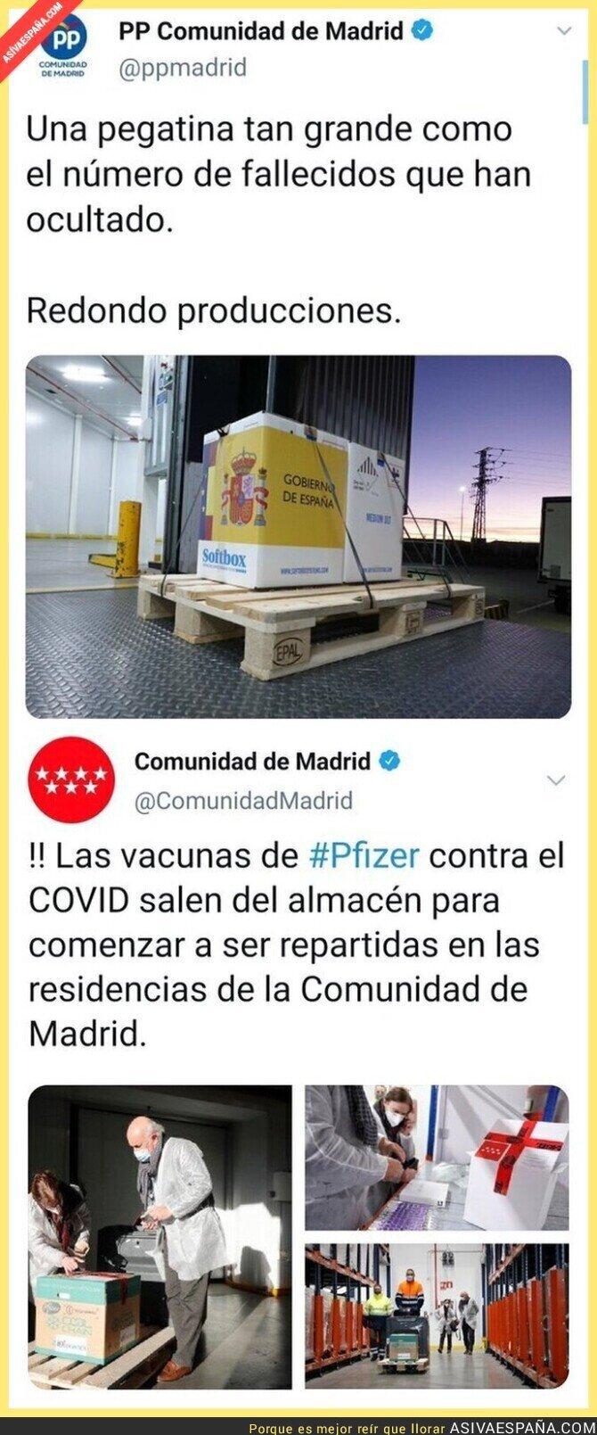 522205 - Ojo a las cajas de vacunas de Madrid tras quejarse de la propaganda del Gobierno de Pedro Sánchez