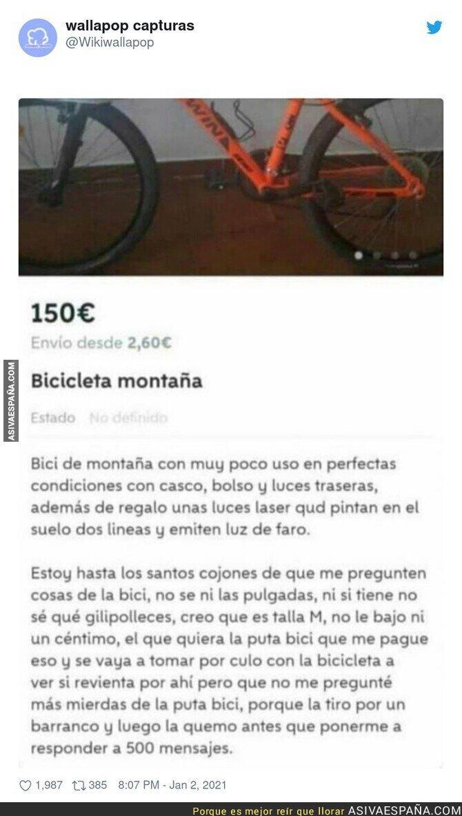 532063 - Esta bicicleta le debe haber traído una mala aventura por la vida