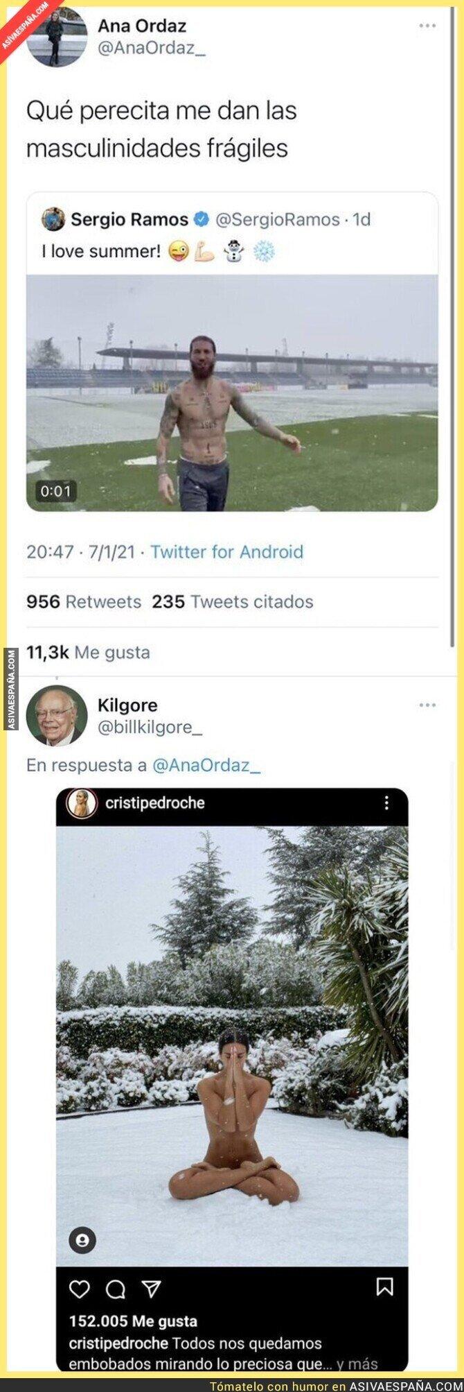 540609 - Esta feminista intenta reírse de Sergio Ramos por salir sin camiseta mientras nevaba y se lleva el ZAS de su vida