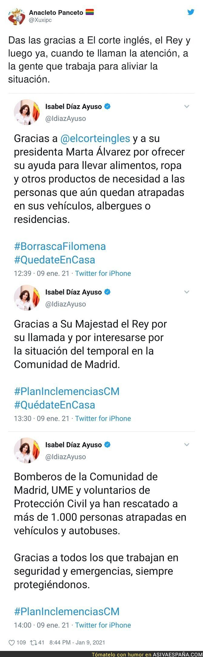542711 - Los polémicos tuits de Isabel Díaz Ayuso en pleno temporal de nieve