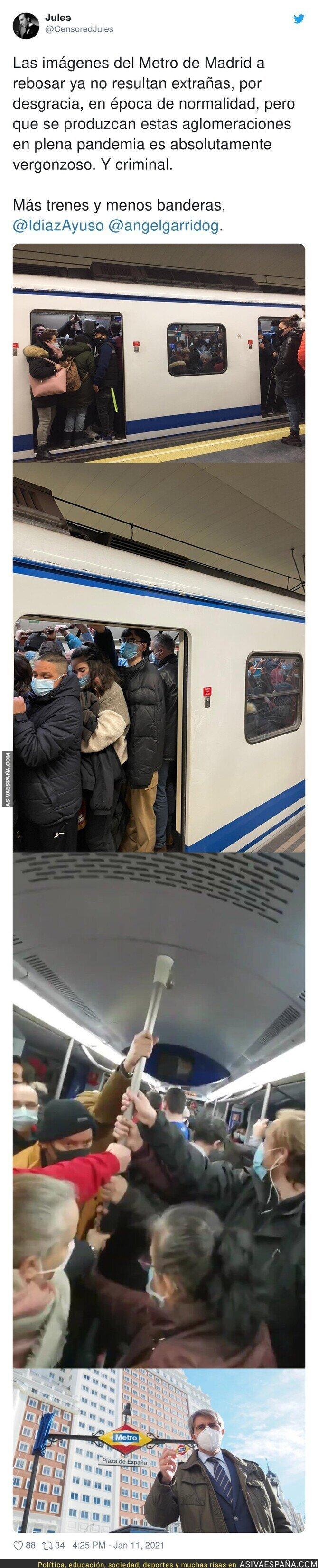 546346 - Vergüenza mundial por como Madrid trata a sus habitantes metiéndolos enlatados en el Metro
