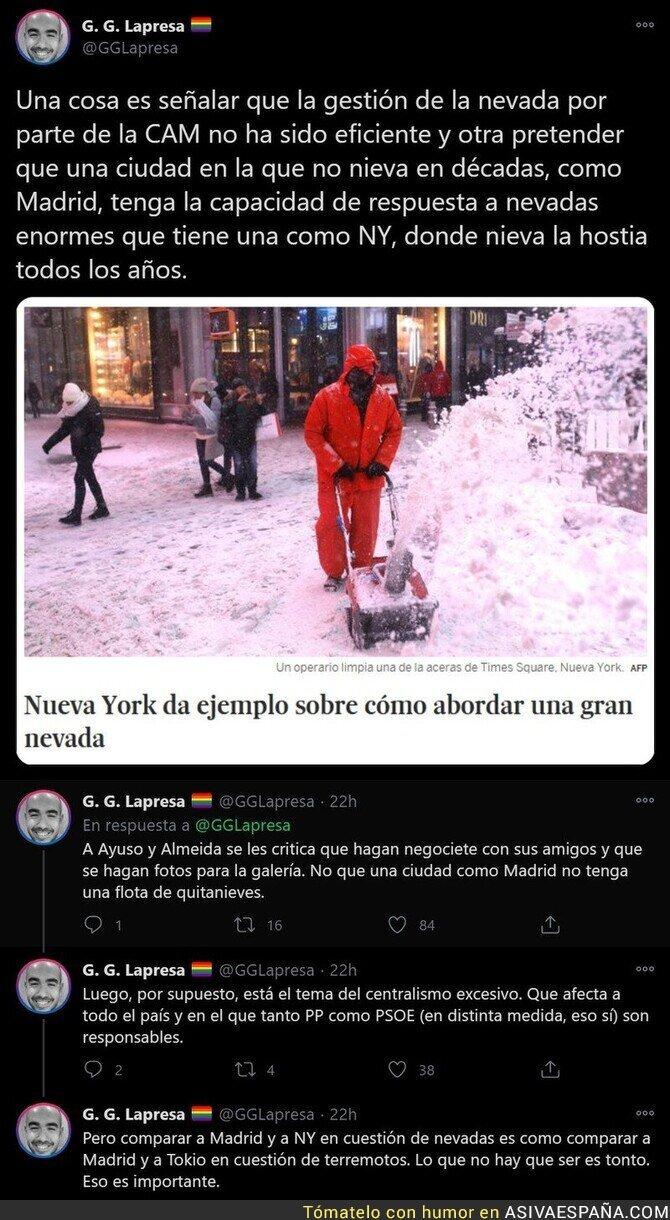 547829 - Madrid no se pueede comparar a Nueva York en gestión de la limpieza de nieve