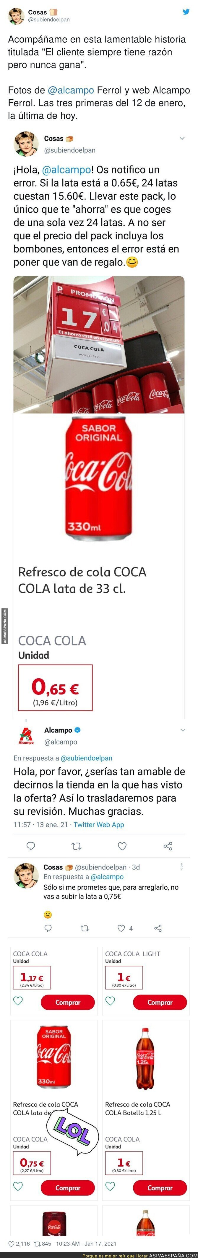 556660 - El consumidor que se quejó del precio de un pack de Coca-cola y así reaccionó Alcampo