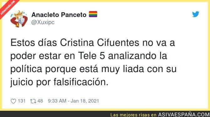 556785 - Cristina Cifuentes es baja en Telecinco esta semana