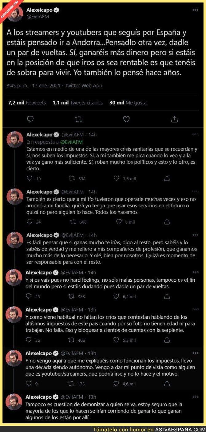 556864 - La auténtica lección del youtuber 'alexelcapo' a todos los de su profesión que se están yendo a Andorra para no pagar impuestos en España