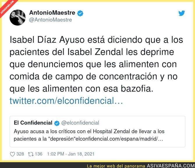 557056 - Isabel Díaz Ayuso echa la culpa a las críticas sobre la salud de los pacientes de su basura de Hospital