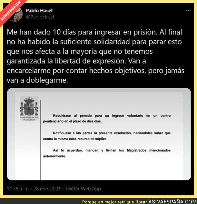572727 - Pablo Hasel a prisión en pocos días