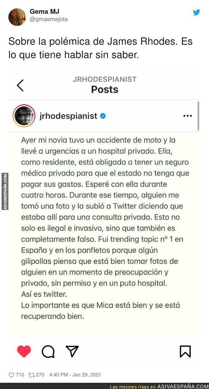 574550 - La polémica foto de James Rhodes en un hospital privado tiene explicación