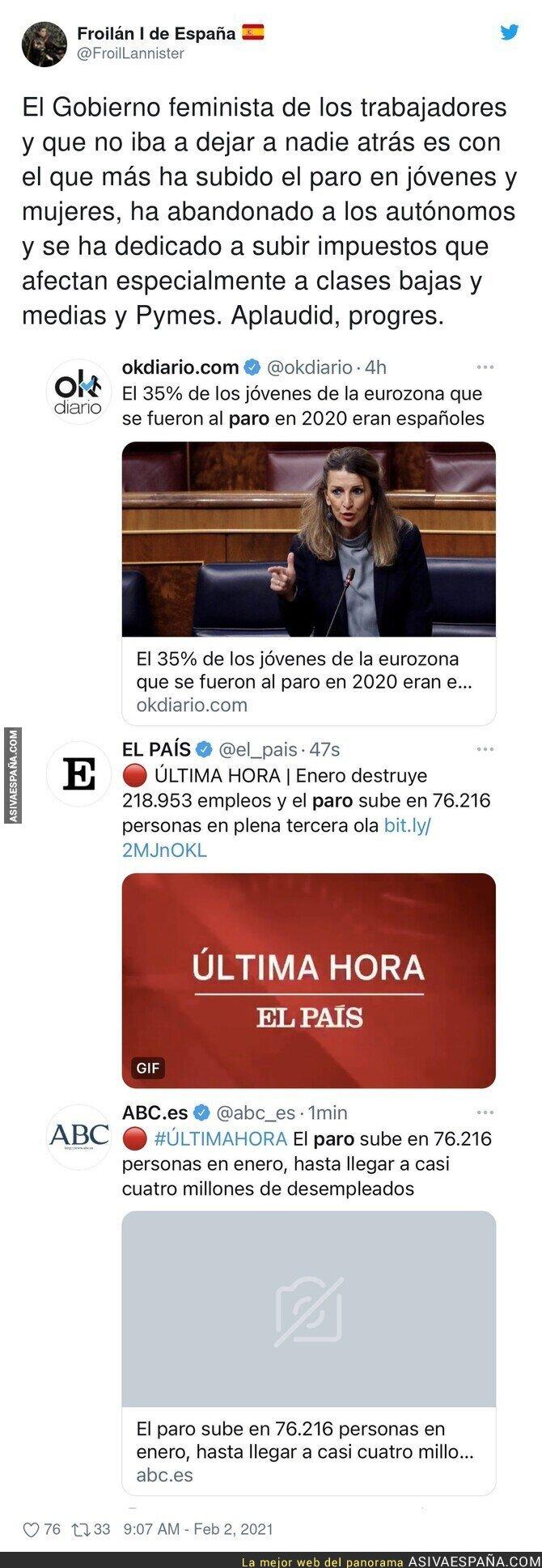 579854 - El preocupante dato del paro de España en 2020