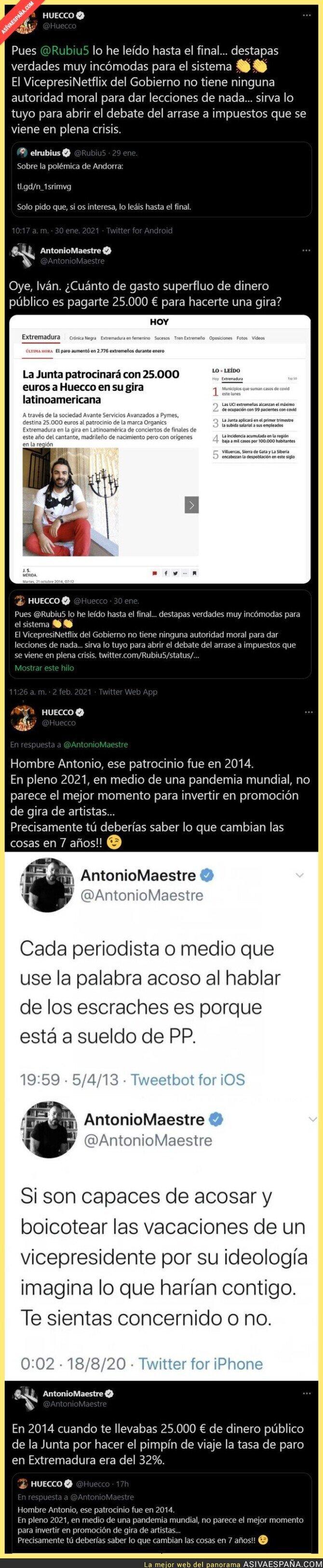 580804 - Antonio Maestre destroza al cantante Huecco tras defender a ElRubius tras marcharse a Andorra