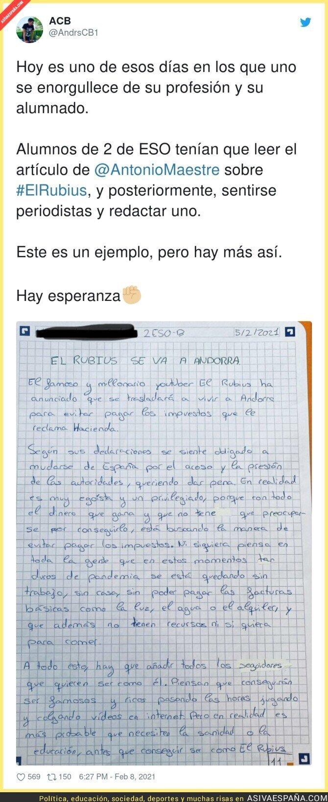 594446 - La carta que se ha hecho viral sobre un alumno de 2 de ESO sobre el Rubius y su fuga a Andorra