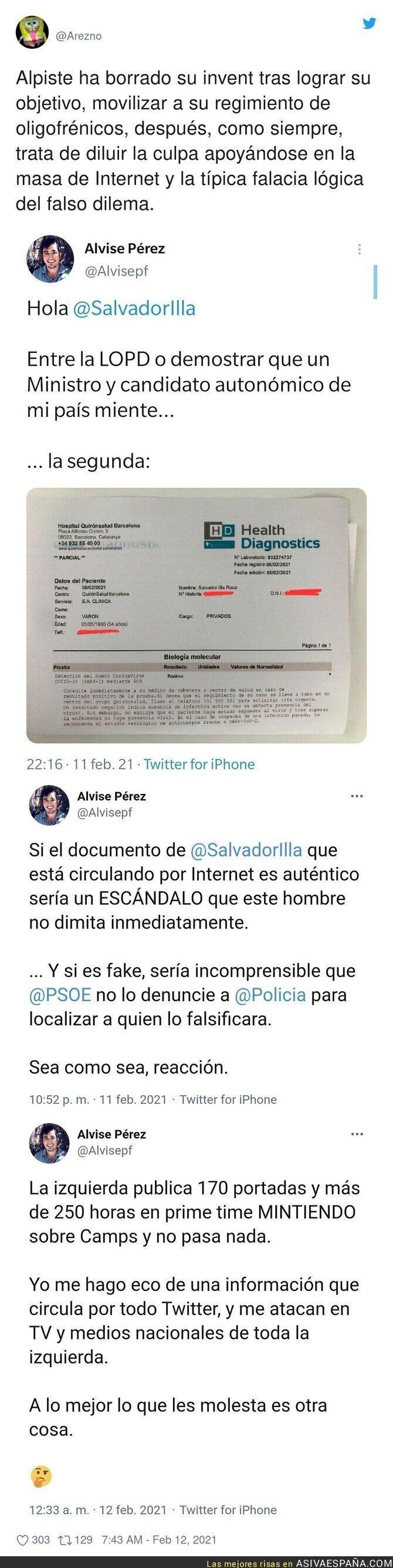 596737 - Alvise Pérez difunde el bulo y se hace la víctima