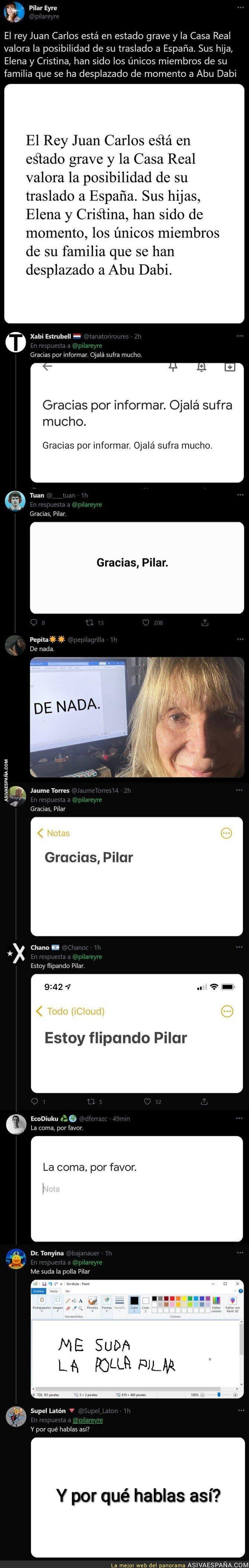 601098 - Pilar Eyre cuenta una información muy grave del Rey Juan Carlos y su estado de salud y todo el mundo se está riendo de ella