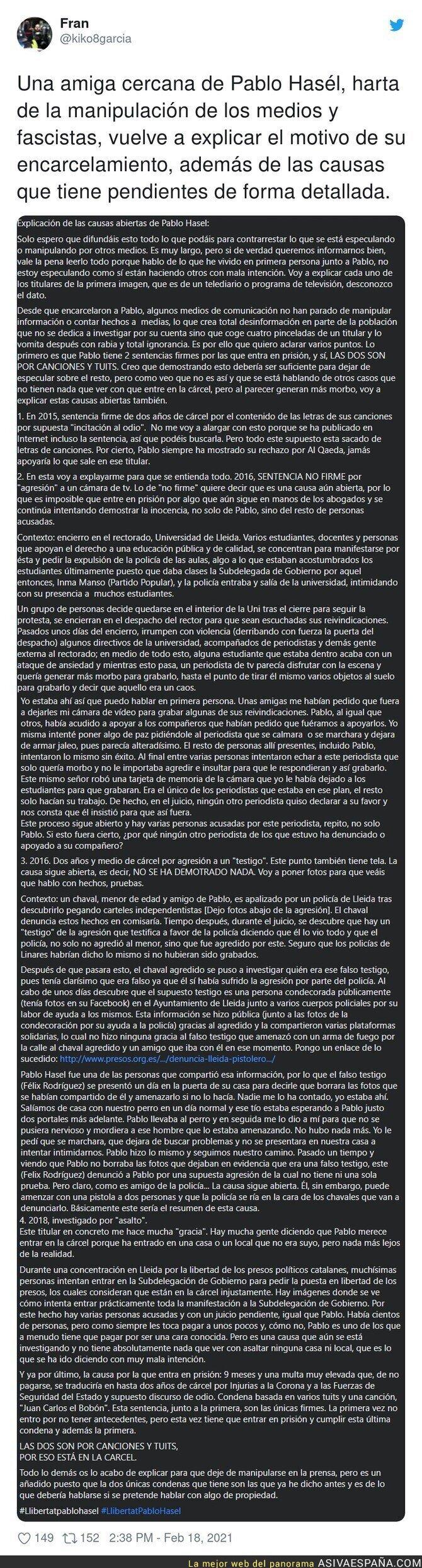 608719 - Una amiga de Pablo Hasel se pronuncia sobre su encarcelamiento y merece la pena ser leída