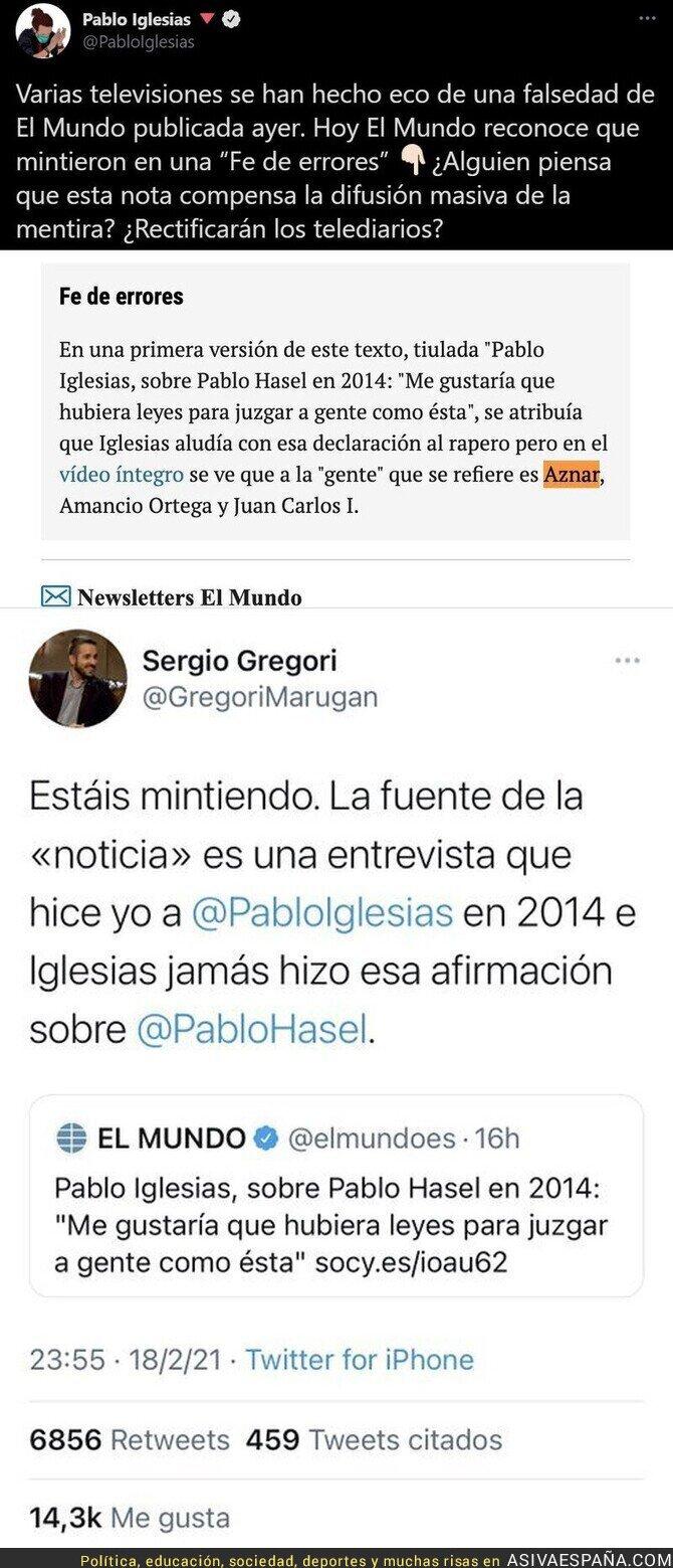 610432 - Así ha mentido 'El Mundo' de nuevo sobre Pablo Iglesias aprovechando el tema de Pablo Hasel