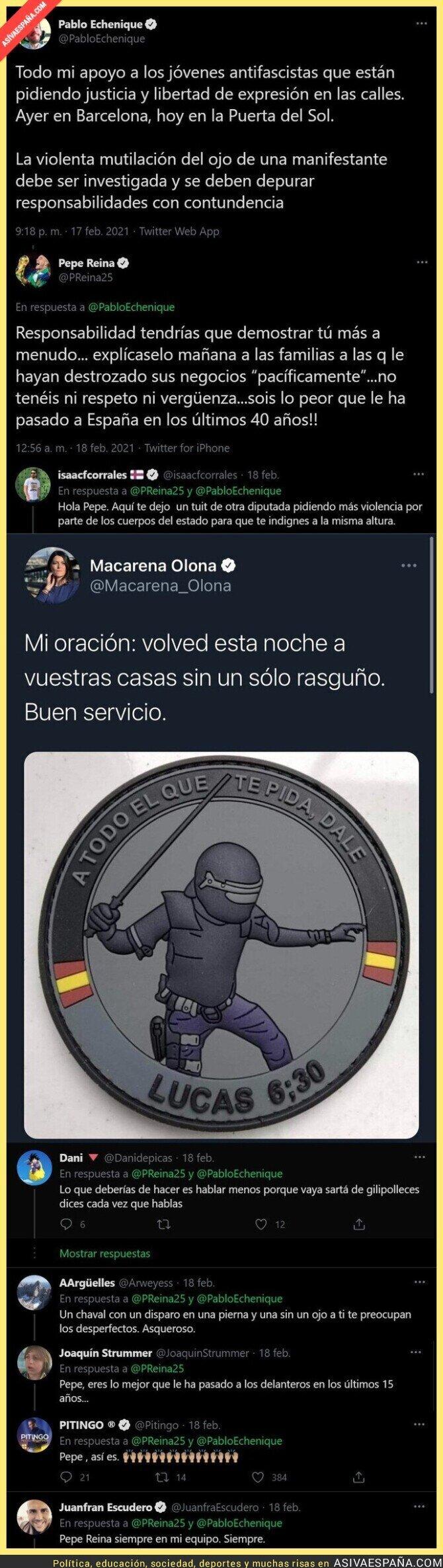 610758 - Pepe Reina se la lía a Pablo Echenique con esta respuesta tras apoyar a los jóvenes antifascistas que la están liando en las calles