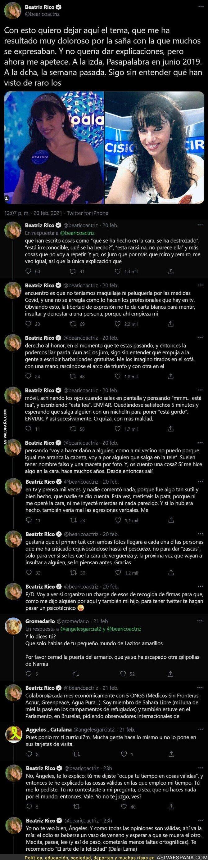 614668 - Beatriz Rico destroza por completo a la gente que está criticando su físico tras su paso por 'Pasapalabra'