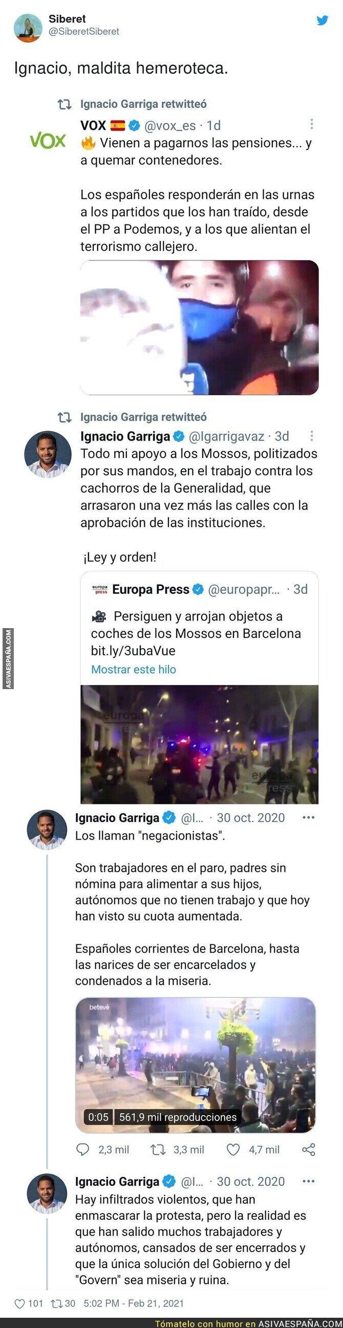 615100 - El doble rasero increíble de Ignacio Garriga en diferentes protestas
