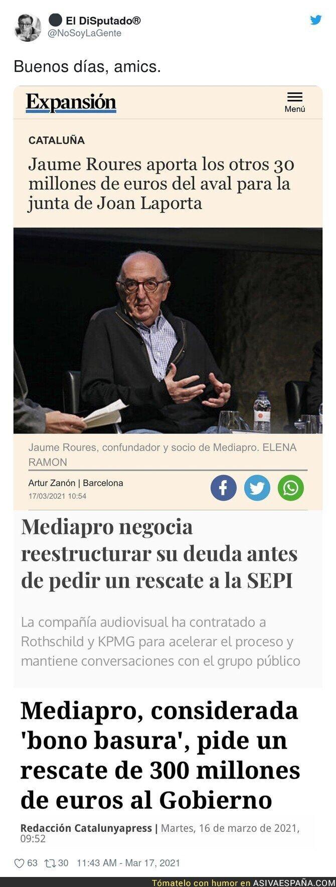 651581 - El aval de Jaume Roures a Laporta que hace sospechar a los madridistas