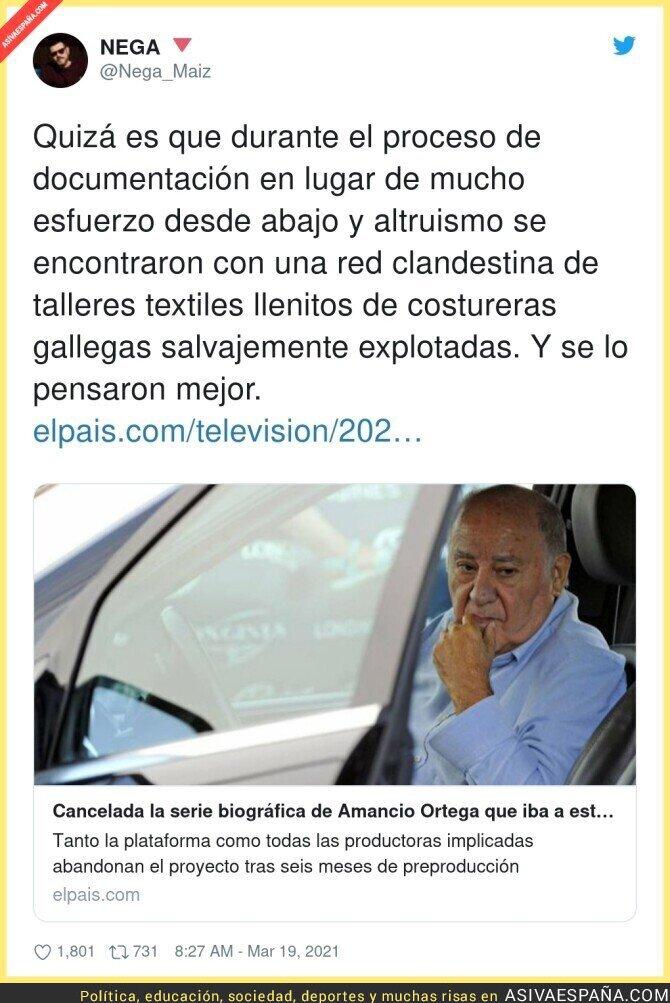 655116 - Cancelada la serie sobre Amancio Ortega
