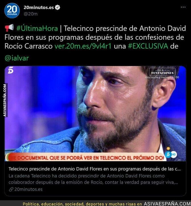 659238 - ¡Antonio David Flores despedido de Telecinco!