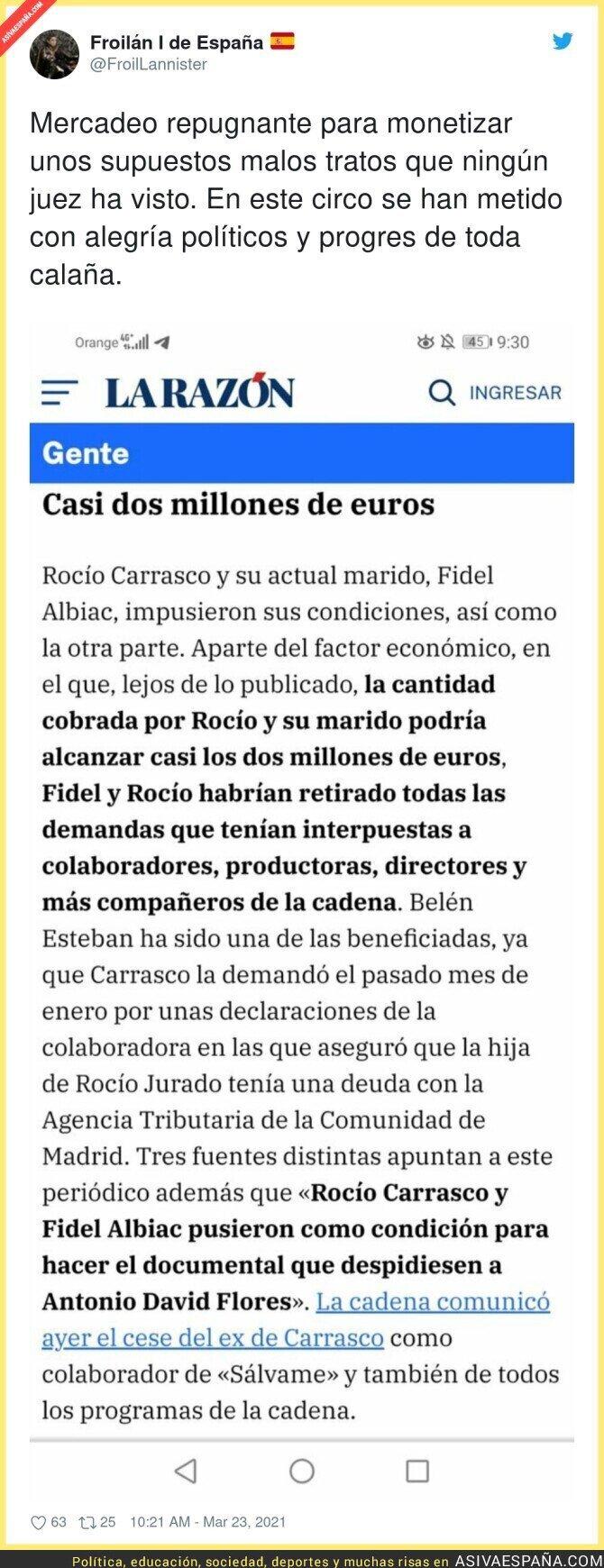 660605 - Sale a la luz el precio y las condiciones de la entrevista a Rocío Carrasco en Telecinco