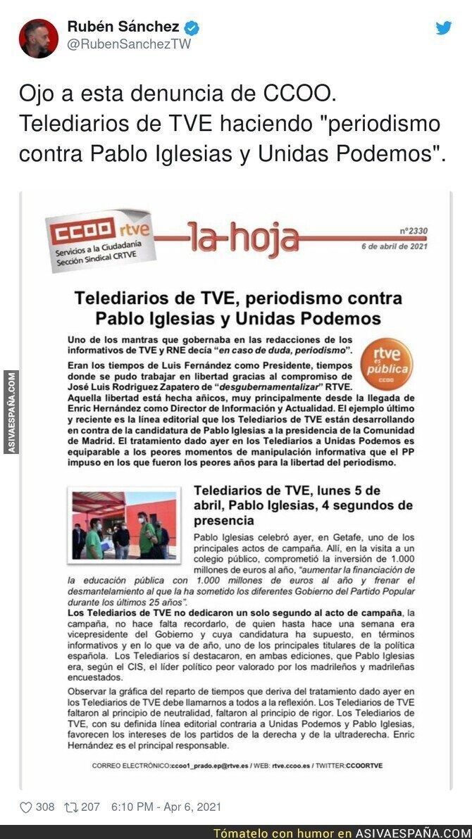 684422 - CCOO contra el Telediario de TVE por ir contra Pablo Iglesias y Unidas Podemos