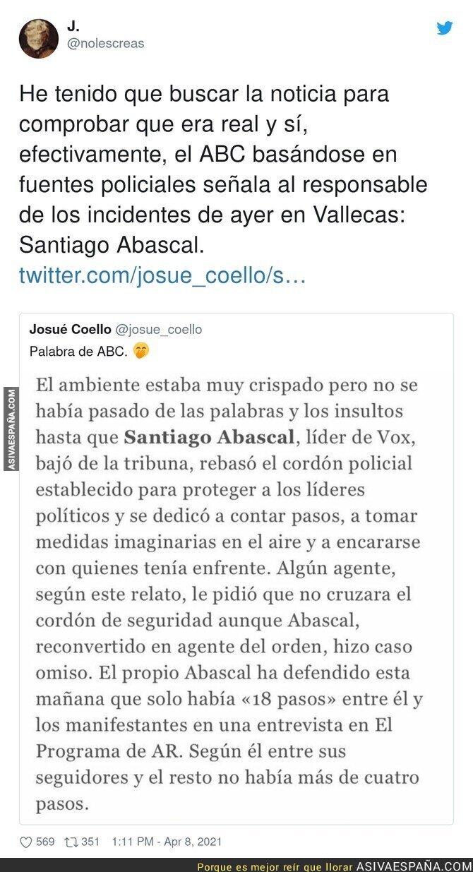 688524 - La Policía lo tiene claro: El culpable de todo en Vallecas es Santiago Abascal