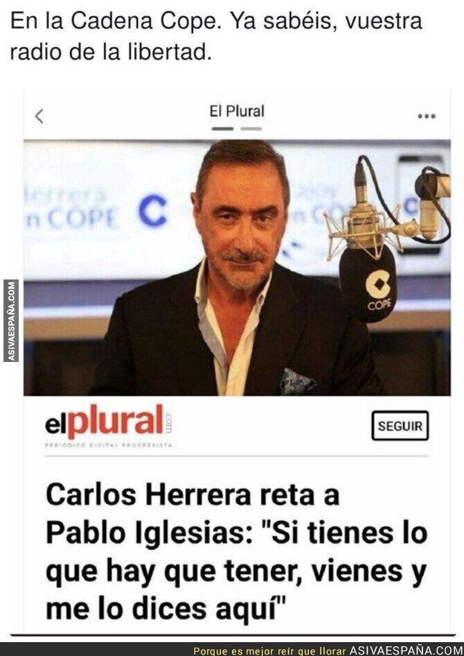 689926 - Carlos Herrera muestra su macarrismo contra Pablo Iglesias