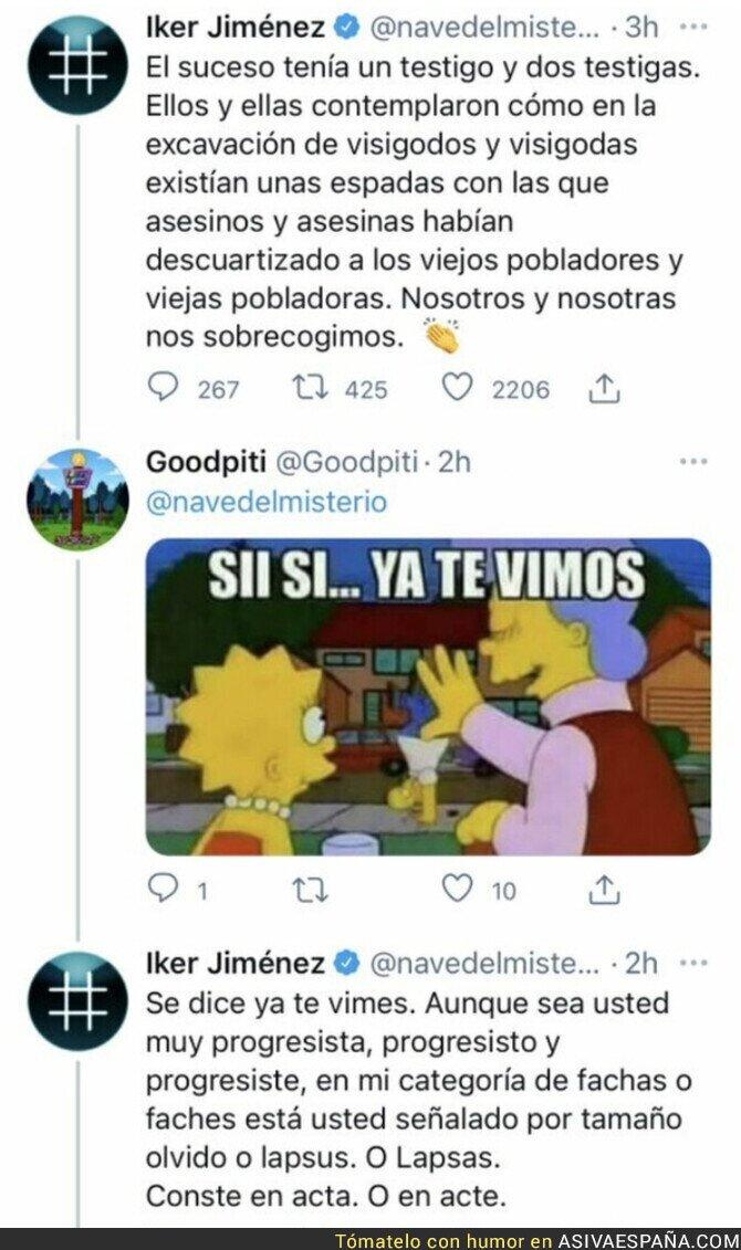 707423 - Iker Jiménez saca su lado más rancio y casposo respondiendo así a una persona