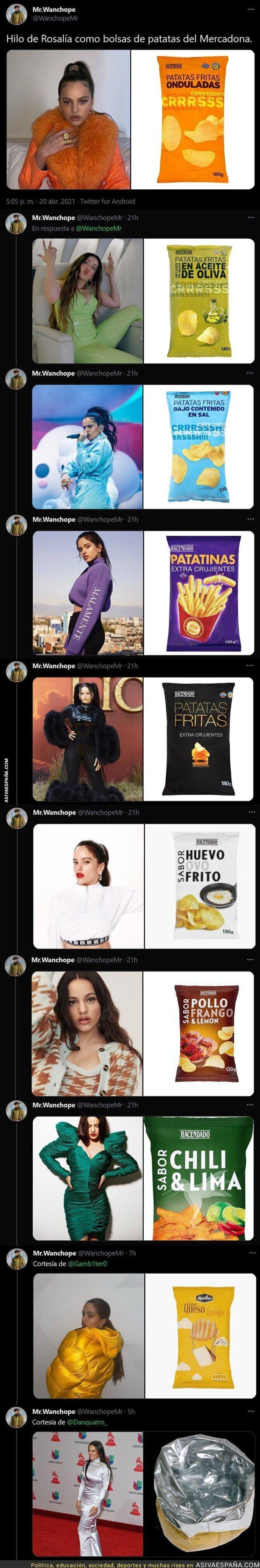 710608 - Recopilan todos los vestidos de Rosalía comparados a patatas fritas del Mercadona