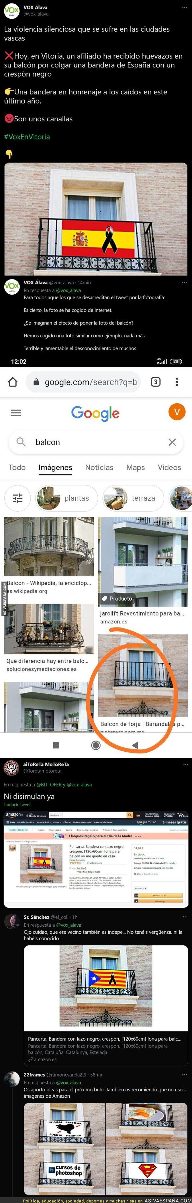 723134 - 'VOX Álava' denuncia unos huevazos al balcón de un vecino y no tardan en pillarle con la gran mentira por este detalle