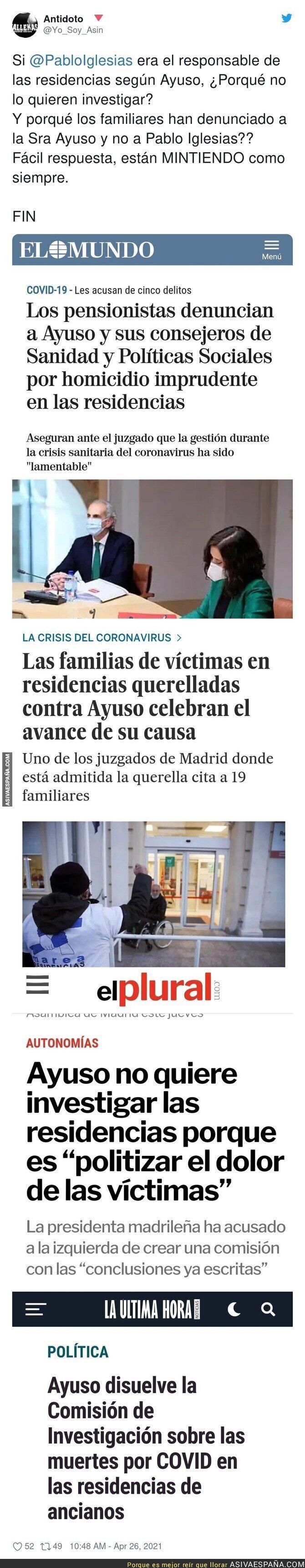723297 - Está tan claro que Pablo Iglesias era el responsable de las residencias de ancianos que Isabel Díaz Ayuso NO quiere investigar