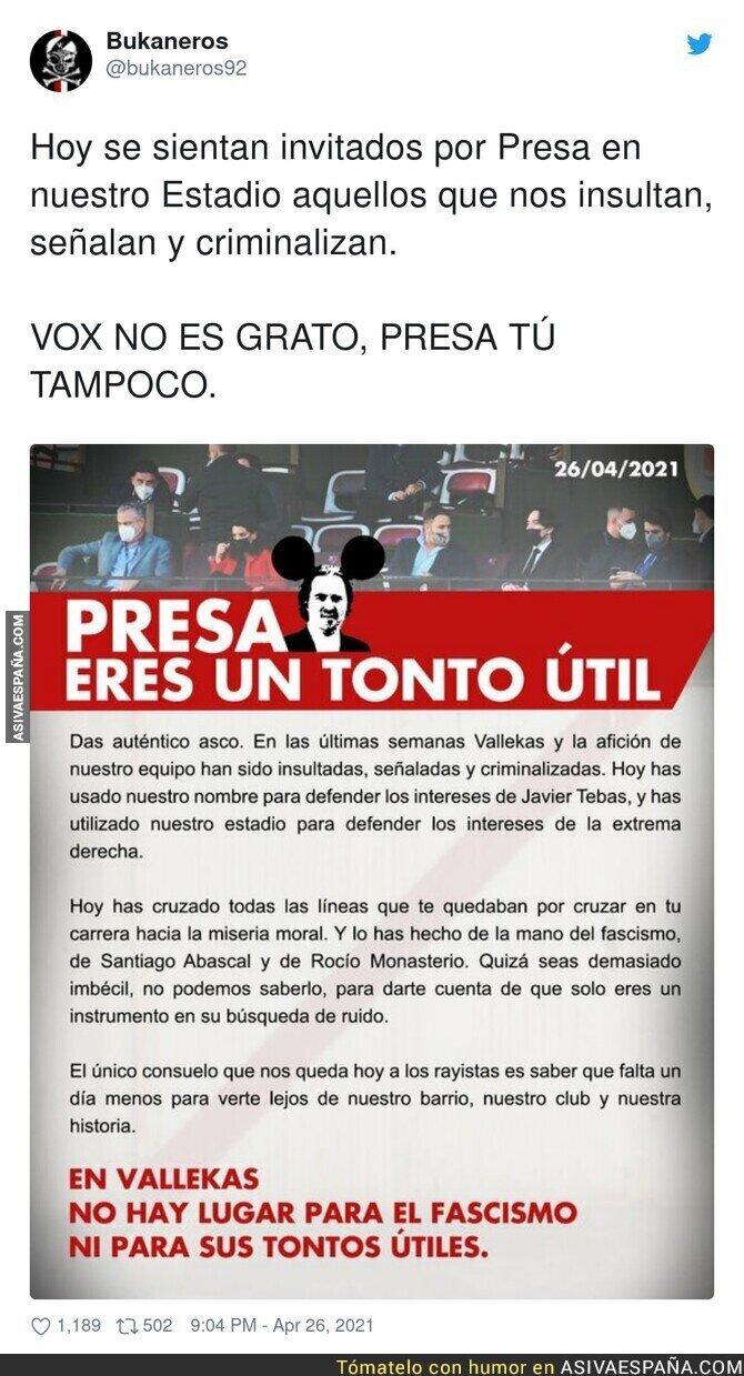 724314 - Los bukaneros se pronuncian tras la visita de Abascal a su estadio