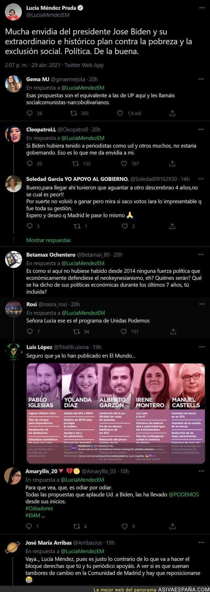 729943 - Lucía Méndez (El Mundo) alaba a Joe Biden con estas medidas y todo el mundo la ha dejado mal en las respuestas