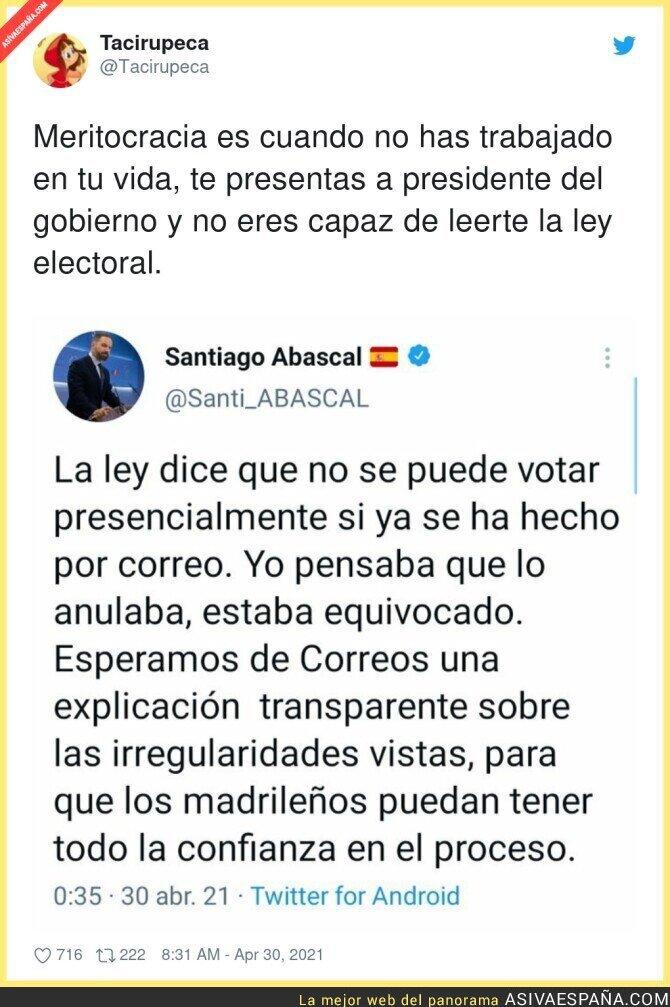 731231 - Santiago Abascal quería lío en las mesas electorales y le han pillado no sabiéndose la ley