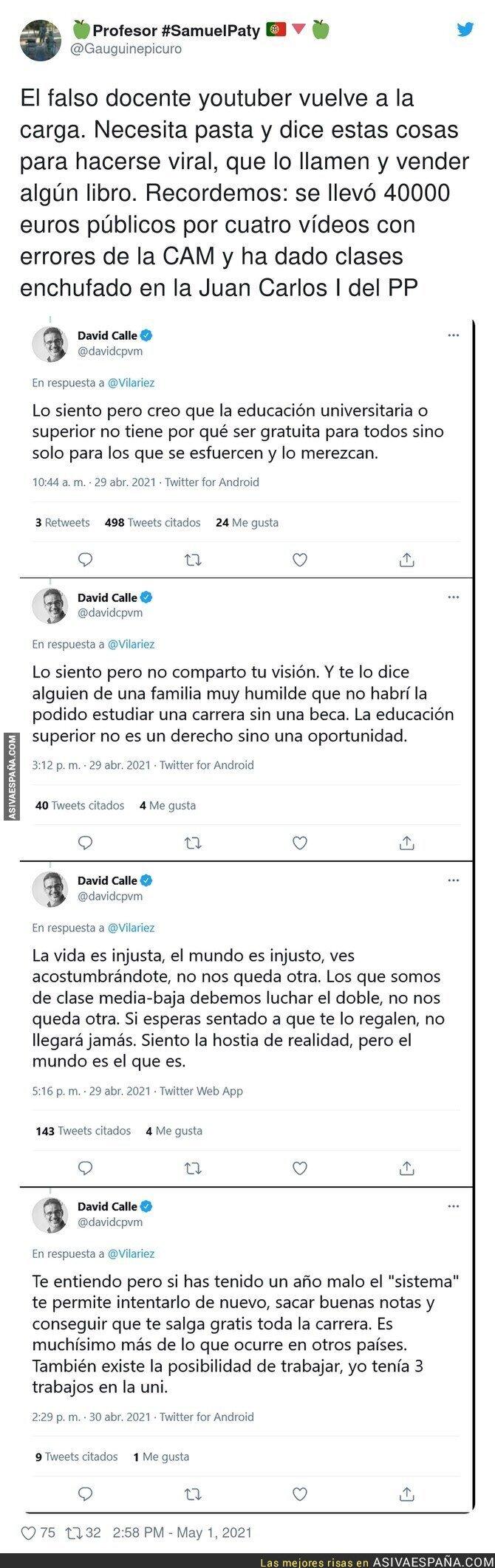 733696 - Los polémicos tuits sobre educación del youtuber David Calle